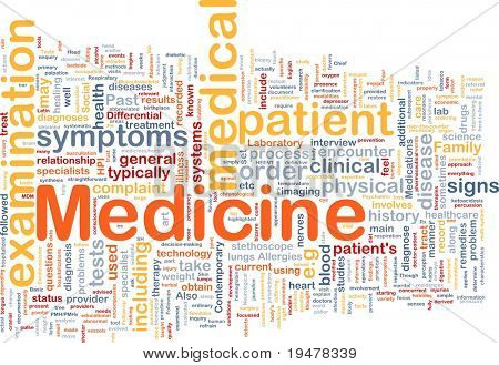 Background concept wordcloud illustration of medicine