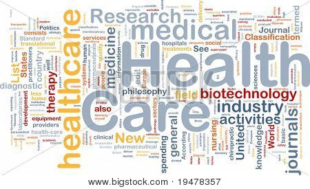 Background concept wordcloud illustration of health care