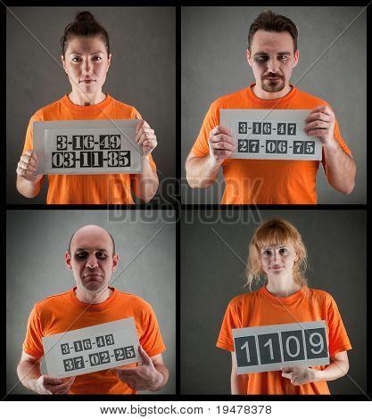 arrested criminal gang wearing orange jumpsuit