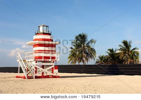 Lifeguard Stand In South Beach Miami, Florida.