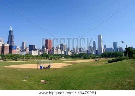 Chicago skyline at morning