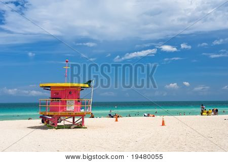 Lifeguard stand, South Beach, Miami, Florida
