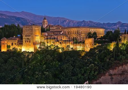 Alhambra after sunset, Granada, Spain