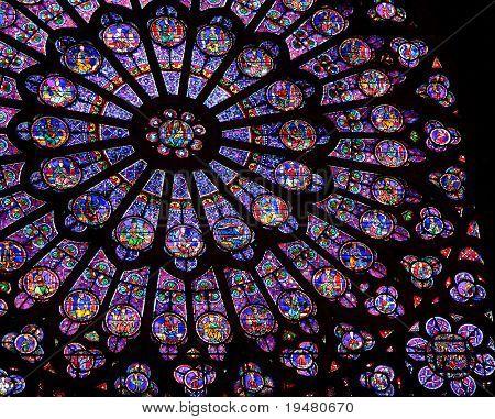 Stained-glass window of Notre Dame de Paris
