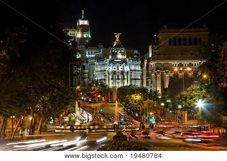 Nightview of Plaza de Cibeles in Madrid, Spain