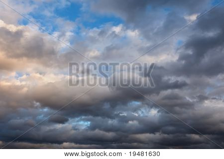 Cloudy sky at sunset