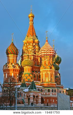 Saint Basil's cathedral at sunset, Moscow, Russia