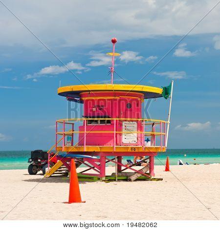 Lifeguard stand, South Beach, Miami, Florida