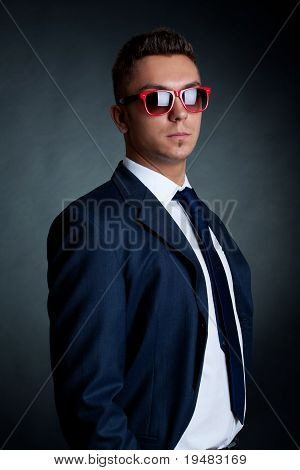 Fashion Business Man In Red Sunglasses