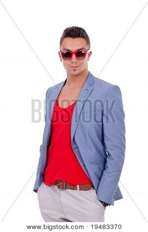 Handsome Casual Man Wearing Sunglasses