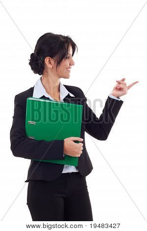 Business Woman Holding A Folder And Pointing