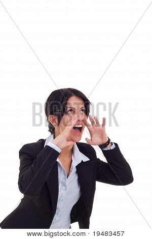 Young Business Woman Shouting