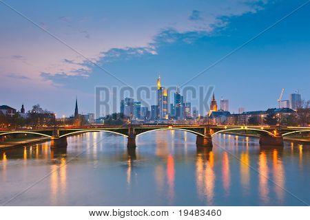 Frankfurt am Main at dusk, Germany