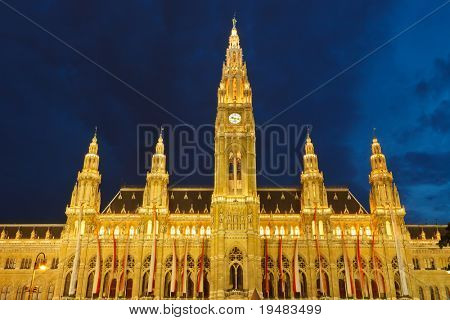 Town hall in Vienna at night, Austria
