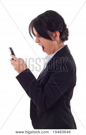 Business Woman Shouting To A Mobile