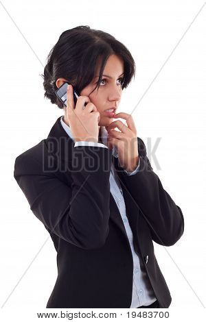 Woman Thinks While Talking On The Phone