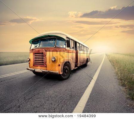 Vintage van on a countryside road
