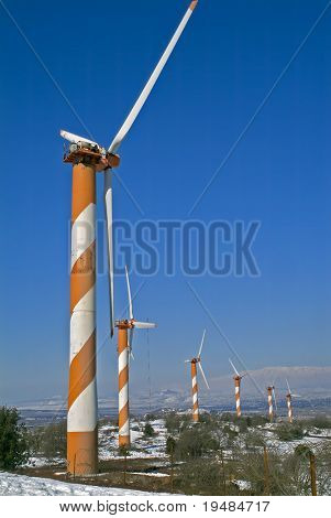 Wind Turbines in the Golan Heights in Israel with snow