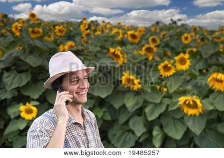 farmer standing in front of a sunflower field talking on the phone