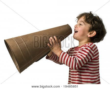 young boy with an old megaphone isolated on white