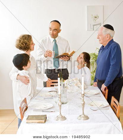 Friday evening Jewish family celebration