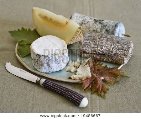 three goat cheeses with melon on plate with a cheese knife