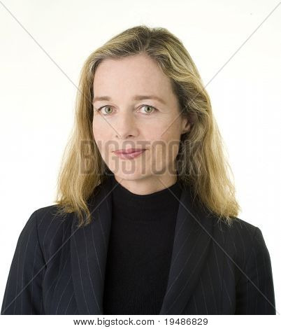 Smiling European business women in her 40's isolated on white
