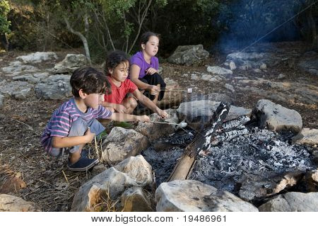 Three kids roasting marshmallows at a campfire
