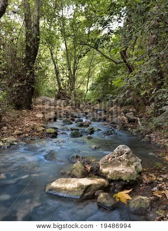 Stream with rocks in motin blur at Kziv river in the Galilee northen Israel