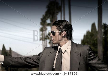 hombre traje con gafas de sol y palmeras en el fondo