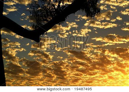 Horizontal photo of a dramatic sunset and clouds