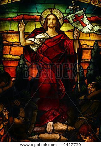 Beautiful artistic stained glass portrait of Jesus