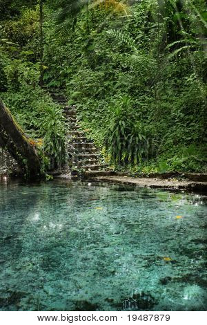 Secluded tropical paradise with clear water, jungle, staircase, and rays of light