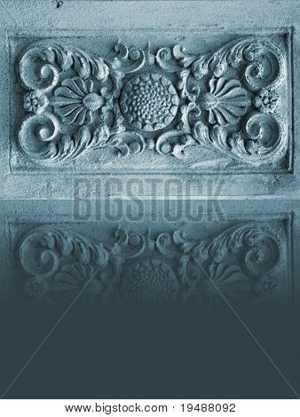 Photo of a pattern of a stone. An architectural detail. Is executed in grey - dark-blue colour. The beautiful reflection supplements