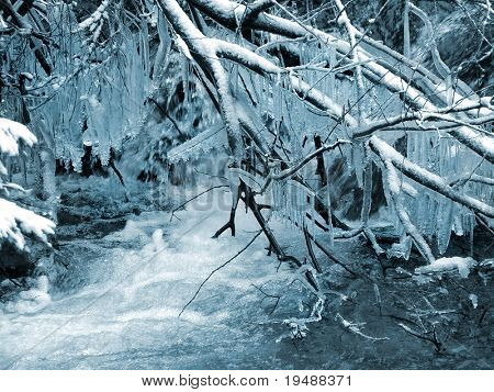 Winter. Landscape The frozen river and icicles Very beautifully!  Blue tone