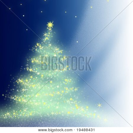Beautiful background. The illustration is made in photoshop. The christmas tree sparkles to a celebrate.
