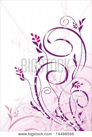 Vector grunge floral background. Ideally for your use in design