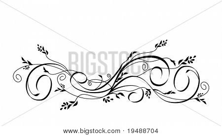 Vector floral and scroll black ornament