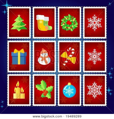 Vector Christmas Stamp Collection / red set