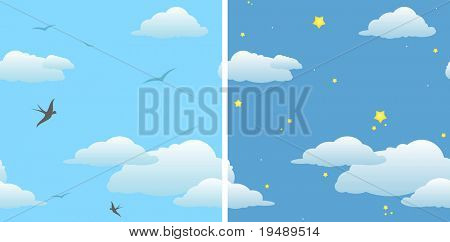 two seamless background - day sky & night sky / vector