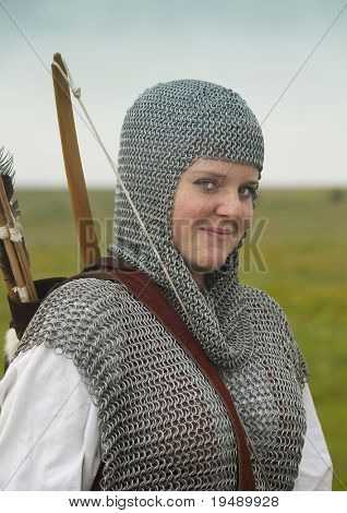 bows woman / medieval armor / historical story