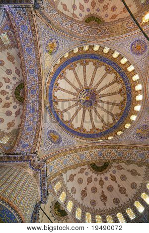 The intricately decorated interior of the Blue Mosque (Sultanahmet Camii), Istanbul, Turkey