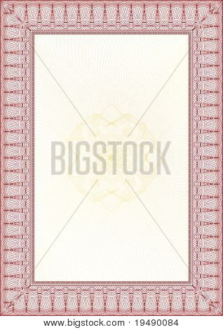 Golden and Red Classic guilloche border for diploma or certificate with protective  ornament / vector/ A4 vertical / CMYK color / Layers are separated! Editing is easy