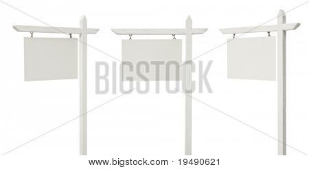 Set of 3 Different Angled Blank Real Estate Signs Isolated on a White Background - XXXL.