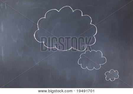 Empty cloud bubbles on a blackboard