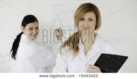 Two scientists in front of a white board in a lab