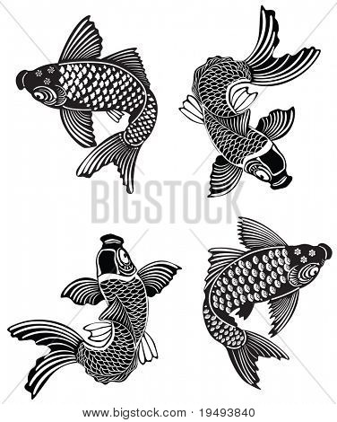 Vector illustration of Koi fishes in traditional Japanese ink style