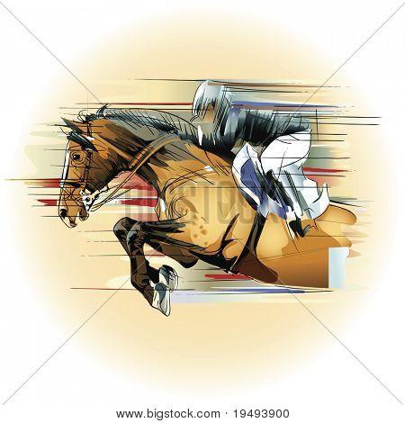 Vector illustration  of a jumping horse and jockey