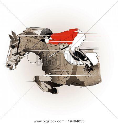 Vector ilustración de un salto de caballo y jinete