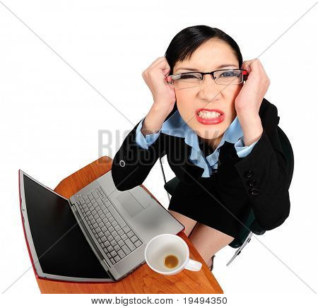 Young asian woman angry with her computer